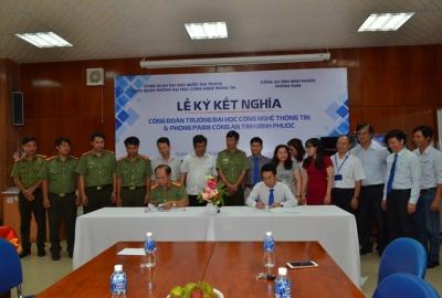 Công đoàn Trường ĐH CNTT ký kết nghĩa  với Phòng PA88 Công an tỉnh Bình Phước